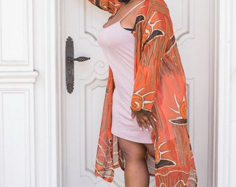 Tribal Vintage Sheer Plus Size Kimono Duster Jacket