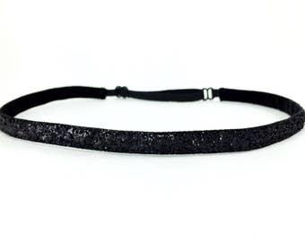 """Skinny Sparkle Non Slip Headband - Black Running Headband - Metallic Workout Headband - Adjustable Workout Headband    3/8"""" black glitter"""