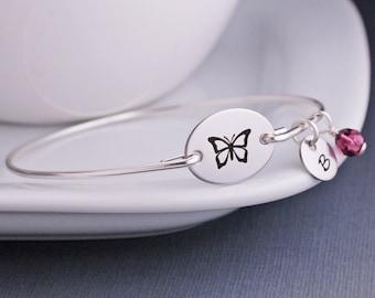 Butterfly Bracelet,  Silver Butterfly Jewelry, Personalized Butterfly Bangle Bracelet