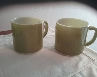 Avocado Green Vintage Fire King Stackable Mugs