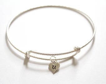 Sterling Silver Bracelet with Sterling Silver U Letter Heart Charm, Silver Tiny Stamped U Initial Heart Charm Bracelet, U Charm Bracelet