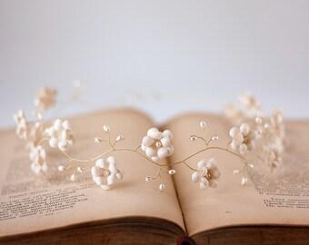 52_Headband, Beige headpiece, Bridal head piece, Boho head pieces, Flower headband beige, Crown flowers, Piece floral, Wedding accessories