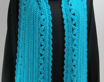 Turquoise Crocheted Scarf   Womens  Long Scarf,Winter Scarf,Handmade Neck Warmer.