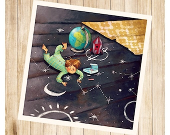 """Paulo and solar system"", map postcard square."