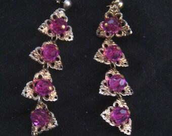 Vintage 50s 60s CHANDELIER Purple Beads Filigree Earrings 1950s