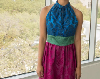 Vivid Rich Primary Colors Backless Party Dress Sapphire Blue Burgundy Wine Recycled Fabrics