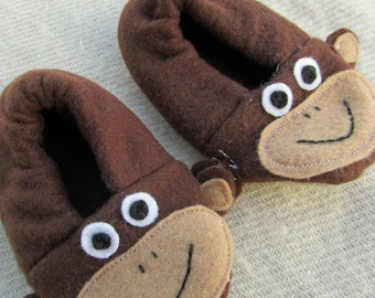 Monkey Slipper Shoe Bootie Sewing Pattern PDF. Baby Toddler. Size 0-24 months