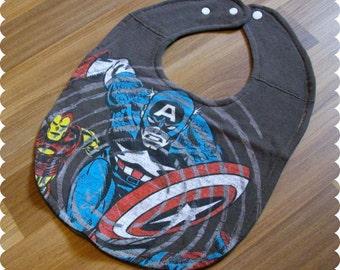 Captain America Baby Bib, Recycled T-Shirt Baby Bib, Baby Shower Baby Boy Gift, Superhero Baby