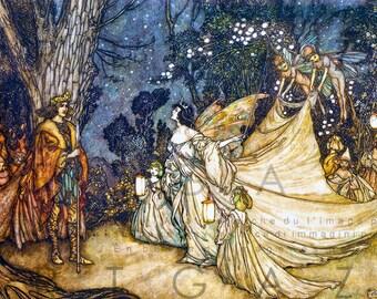 Titania Queen Of The Fairies STUNNING VINTAGE ILLUSTRATION. Arthur Rackham Print. Digital Fairy Download.