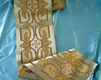 Orphrey trim metallic brocade religious vestment or pillows