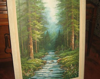 Large Forest and Stream Oil Painting with Whitewash Wood Frame/Unknown Date