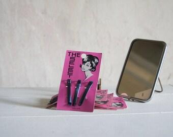 Vintage French Bobby Pins // 1960 Hair Pins // Retro Hot Pink Black // Hairdresser Women's Fashion