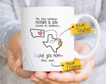 mothers day from son, mom state mug, mom distance, mom personalized, mom from son, long distance gift, distance quote mug, family MU625