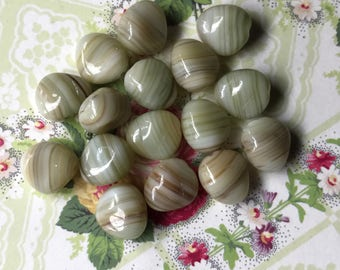 Vintage Glass Beads Sage Green Swirl Czech Nugget 6/11mm Baroque Ivory Marble Beads,Pressed Glass Beads, Czech beads,Striped beads NOS. #3