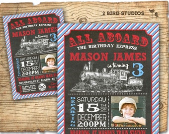 Train invitation - Chalkboard train party invitation - Train ticket invitation - Printable invitation for train birthday party
