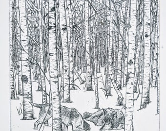 The Dog Meets The Wolf, etching print, Aesops fable, hand printed limited edition