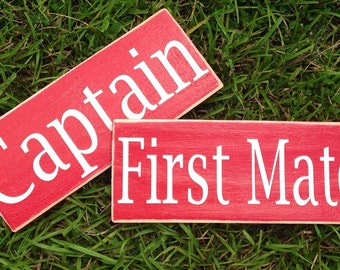 10.5x4 Captain & First Mate (Choose Color) Shabby Chic Sailor Boat Pilot Signs (2 Signs)