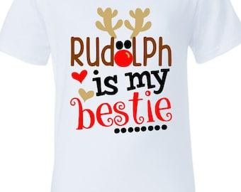 rudolph shirt christmas shirts kids christmas shirt rudolph is my bestie kids - Christmas Shirts For Girls