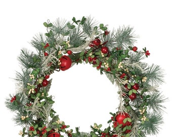 """Mixed Berries with Pine and Bells Wreath 24"""""""