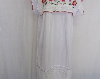Mexican Wedding Dress Cotton Embroidery Dress Peasant Dress Hippie Dress Plus Size White Dress Crochet Lace