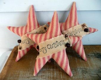 Primitive star ornie tuck bowl filler Merry Christmas Ornament