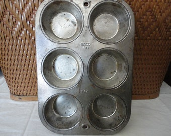 Ekco T60 6 Cup Muffin Tin Vintage Kitchen Baking Tool Craft Storage tammysfindings