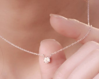 6 Prongs Set Solitaire 4mm Diamond Simulant CZ Sterling Silver Chain Necklace, Hypoallergenic, Dainty Necklace, Anniversary, Gift For Her