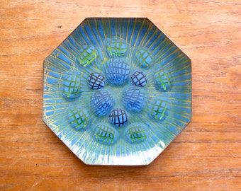 Vintage Annemarie Davidson Enamel on Copper Octagonal Dish Plate Jewels Grooveline Ghostline Sierra Madre California Blue Green