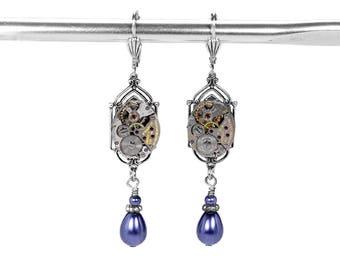 Steampunk Jewelry, Vintage  Earrings, Silver ART DECO Filigree, BLUE Pearl Drops, Dangle Earrings Wedding, Bridal  - Jewelry by edmdesigns