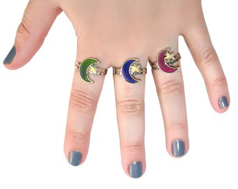 90's Crescent Moon Mood Ring - Witchy Jewelry - 90's Mood Rings Vintage 90's Fashion ring