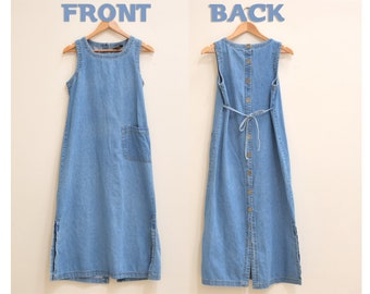 Denim 1990s Button Up Dress for Women Size Small, Oversized Long Denim Dress, Button Down Dress, 90s Dress Size S, Blue, Vintage