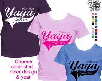 World's Finest Yaya - Personalized with Year - Classic Fit Ladies' T-Shirt (Greek Grandma)