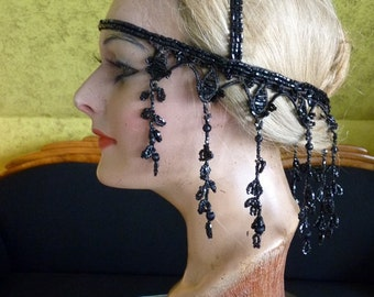 1920s Original (!) Jet Beaded Headpiece, Headdress, Head Dress, antique, 1920s