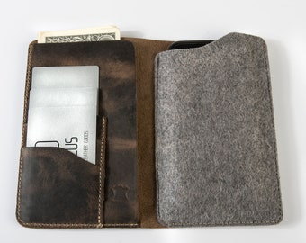 Personalized mobile case wallet, mobile phone sleeve wallet, leather wallet, Leather felt mobile pocket wallet, leather mobile pocket wallet