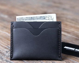 Slim Mens Wallet - The Inside Out Men's Leather Wallet - DARK Colored -- Minimalist Wallets - 031 - The Wallet of The Year