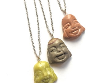 Buddha Face Necklace, Agate, Silver