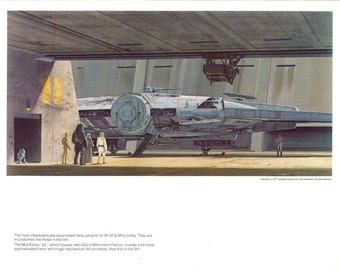 Millennium Falcon Mos Eisley 1977 Original Vintage Star Wars Painting Print by Ralph McQuarrie
