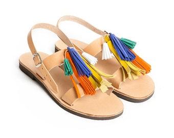 THALATTA TASSELS III,multi-colored leather tassels sandals handcrafted in Greece