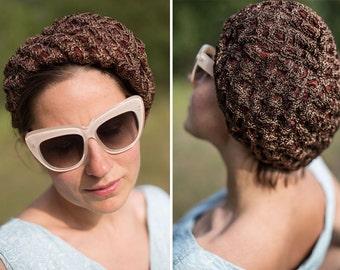 Vintage brown 50s PILLBOX hat / 50s brown beret/