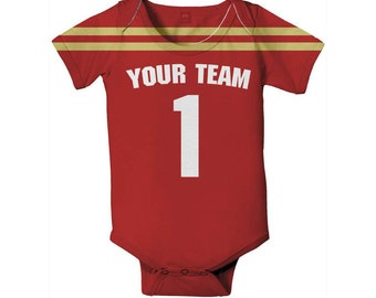 Baby Football Bodysuit, Personalized Jersey Style One-Piece, Choose Team Colors and Names