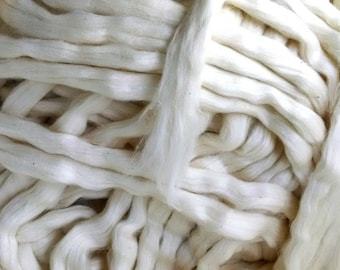 Cotton Roving, Organic Upland  - 8 ounces US Grown Texas Cotton