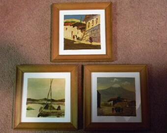Vintage Set of 3 Framed Paintings on Tile signed JV