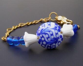 Lampwork  Bead Bracelet, Navy Blue Jewelry, Stacking Bracelet, Womens Blue Bracelet, Everyday Bracelet, Delft Bracelet