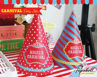 Circus Party Hat for Circus Birthday. DIY Carnival Party Hats Printable. Personalized Circus Hats for Circus Party.