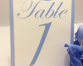 Blue & White Table Numbers (Choose Your Quantity)