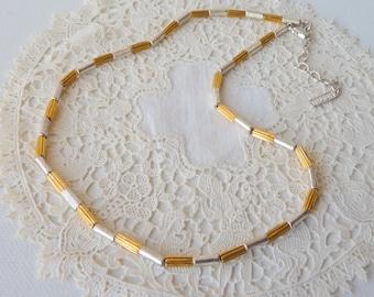 "Napier Two Tone Signed Vintage  Necklace Gold and Silver Chain, Napier  Necklace 16"" Napier Choker Vintage 70's, Costume Choker Necklace"