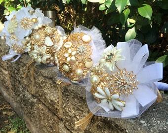 Wedding Brooch Bouquet, Broach Bouquet, Brooch Bouquet, Gold Bouquet, Flowergirl Bouquet, Bridesmaid Bouquet, Button Bouquet, DEPOSIT ONLY