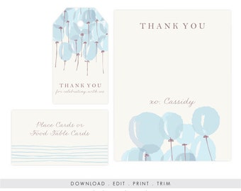 Baby Shower Thank You Card Boy | Baby Shower Thank You Printable, Baby Shower Gift Tag, Editable, Printable Template, Instant Download PDF