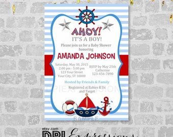 Nautical Boy Baby Shower Invitation, Printable Sail Boat, Nautical Theme Baby Shower Invitation, Blue And Red, Digital or Printed