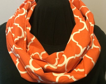Orange and White Quatrefoil Morrocan Tile Cotton Fabric Infinity Scarf
